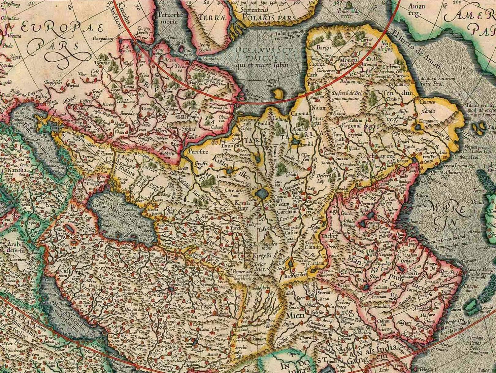 карта мира Румольда Меркатора 1587 год