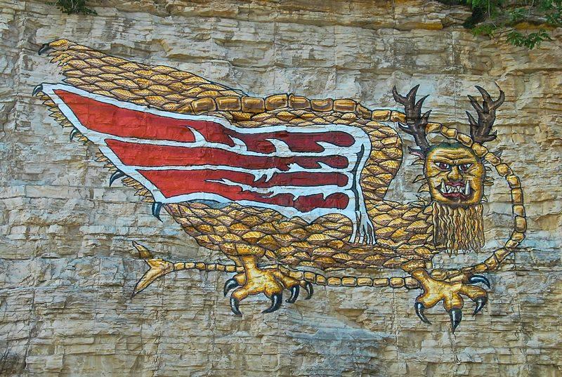 Пиаса. Современная наскальная реконструкция заново воссозданная во второй половине прошлого века. /bestiary.us/