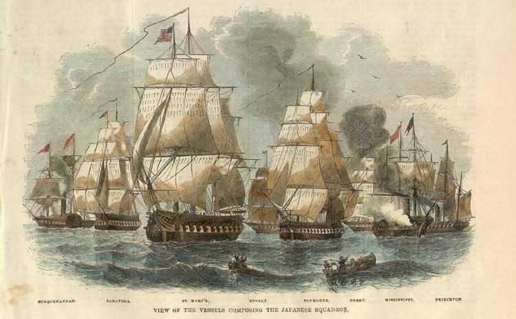 Флот коммодора Перри во время его второго визита в Японию в 1854 году.