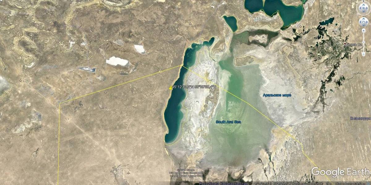 Следы на дне Аральского моря