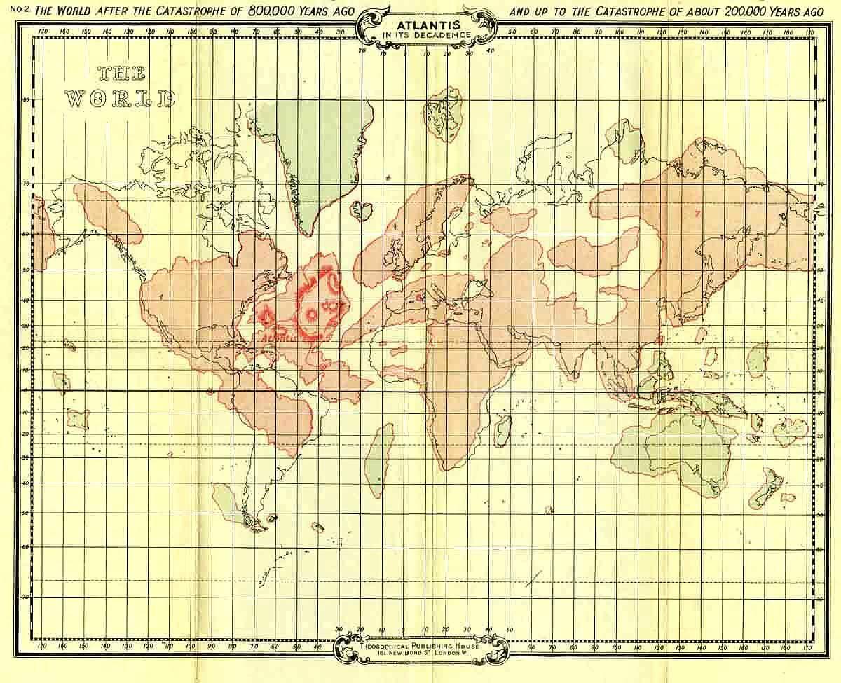 эзотерическая теософская карта Атлантиды