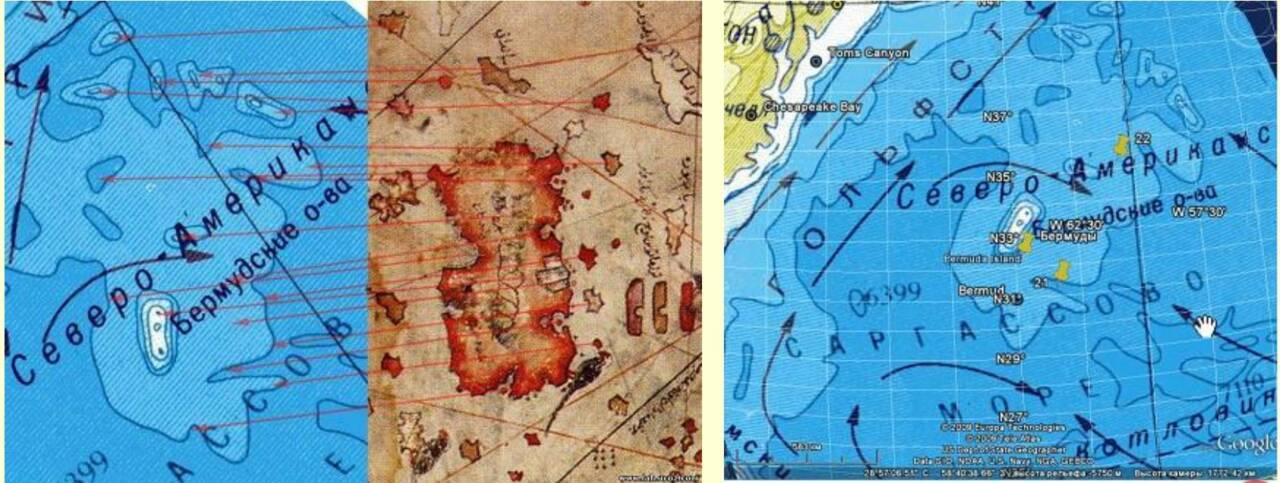 Слева - батиметрическая карта Бермудского плато и участок карты Пири Рейса. Справа - современная карта Бермудских островов.