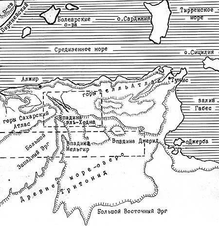 Озеро Тритонид на карте Африки